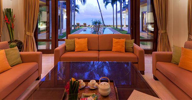 Villa Frangipani  Living Room with Sea View