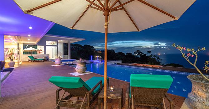 Villa Solaris  Main Swimming Pool at night