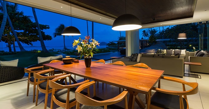 Villa Malabar  Dining Table During Sunset